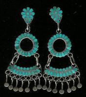 Zuni Turquoise Multi-Inlay Flower Circle Fan Dangle Screwback Pawn Earrings Dishta