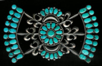 ZUNI TURQUOISE CLUSTER PAWN PIN Betty Quam