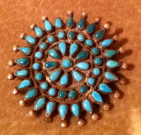 Zuni Turquoise Cluster Pawn Pin