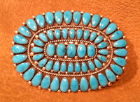 ZUNI TURQUOISE CLUSTER OVAL PAWN PIN PENDANT Alice Quam