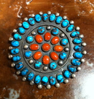 SOLD ZUNI TURQUOISE CORAL CLUSTER ROUND PIN JE SOLD