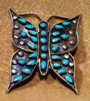 Zuni Turquoise Butterfly Pawn Pin