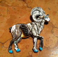 Zuni Ram Big Horn Sheep Multi Color Inlay Pin Pendant Virgil & Shirley Benn
