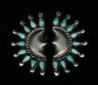 EARRINGS ZUNI TURQUOISE TEARDROP SHAPED SILVER CRESCENT MOON SHAPED HALF CIRCLE PAWN SCREWBACK