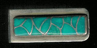 Zuni Pawn Multi-Inlay Turquoise Sterling Silver Money Clip SOLD