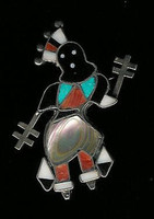 Zuni Apache Dancer Kachina Multi-Inlay Pawn Pin Vera Luna