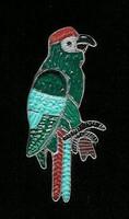 Zuni Parrot Multi-Inlay Pin Pendant Pablita Quam