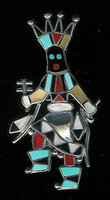 Zuni Apache Dancer Kachina Multi-Inlay Pin L Laiwakete