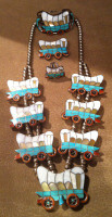 Zuni Multi-Color Inlay Covered Wagon Conestoga Necklace Bracelet Pin Ring H.L. Zunie Helen and Lincoln Zunie SOLD