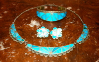 Zuni Rare Pawn Blue Gem Turquoise Inlay Choker Necklace Earring Bracelet Set