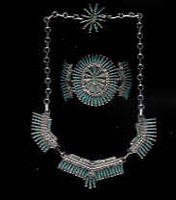 Zuni Pawn Turquoise Needlepoint Necklace Bracelet Ring Set JS Bellson