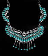 Zuni Cluster Turquoise Choker Necklace Faye Ondelacy