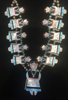 Zuni Inlay Maiden Necklace Earring Set Joyce Waseta