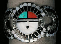 Zuni Multi-Inlay Sunface Pawn Bracelet Roger Cellicion