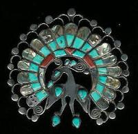Zuni Multi-Inlay Peacock Pin