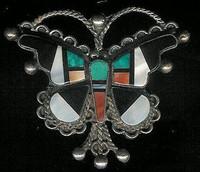 Zuni Butterfly Multi-Inlay Pawn Pin ZMIBPP4