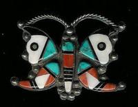 Zuni Butterfly Multi-Inlay Pawn Pin
