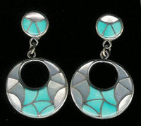 EARRINGS ZUNI MULTI-COLOR ROUND DANGLE TURQUOISE & MOTHER OF PEARL HOOPS SOLD