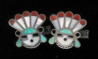 Zuni Multi-Color Inlay Sunface Cuff Links Pawn