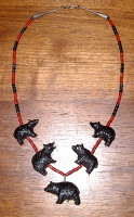 Zuni Jet 5 Bear & One Strand Coral Heishi Necklace