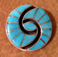 Zuni Hummingbird Pattern Turquoise Silver Multi-Inlay Pin Pendant Amy Quandelacy