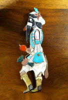 Zuni Eye Ball Kachina Multi-Inlay Pin/Pendant A Lonjose Shirley