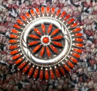 ZUNI CORAL NEEDLEPOINT PIN/PENDANTS HASKIE