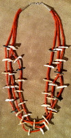 Zuni Three Strand Coral Heishi With Shell Bird Fetish Necklace George Haloo Chee Chee & Andrew Emerson Quam