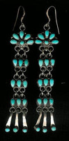 EARRINGS ZUNI TURQUOISE DANGLE FRENCH WIRE EARRINGS