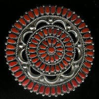 ZUNI CORAL CLUSTER PIN/PENDANTS ALICE QUAM SOLD