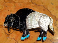 Zuni Buffalo Multi Color Inlay Pin Pendant Virgil & Shirley Benn