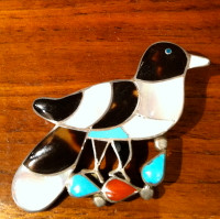 Zuni Bird Multi Color Inlay Pin Wesley & Ella Gia