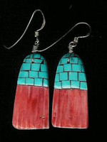 Santo Domingo Turquoise Multi-Color Inlay Earrings Daisy Reano SOLD
