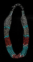 SANTO DOMINGO CORAL TURQUOISE ONYX CLAM SHELL HEISHI NECKLACE Pablita Balion SOLD SOLD