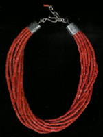 SANTO DOMINGO CORAL 9 STRAND HEISHI CHOKER NECKLACE_28