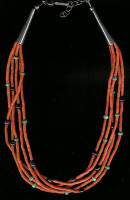 SANTO DOMINGO CORAL 5 STRAND HEISHI NECKLACE
