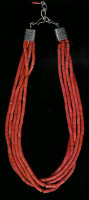 SANTO DOMINGO CORAL FIVE STRAND HEISHI NECKLACE_1