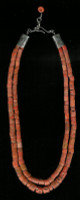 SANTO DOMINGO CORAL TWO STRAND HEISHI NECKLACE