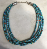 SANTO DOMINGO 4 STRAND TURQUOISE HEISHI BEAD CHOKER NECKLACE Ken Aguilar