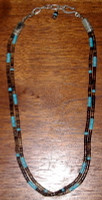 SANTO DOMINGO 2 STRAND TURQUOISE SHELL HEISHI BEADED CHOKER NECKLACE SOLD