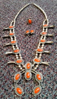 SQUASH BLOSSOM NECKLACE CORAL_21 SOLD