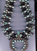 SQUASH BLOSSOM NECKLACE SPIDERWEB #8 TURQUOISE PAWN _37