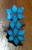RINGS ZUNI TURQUOISE MULTI-INLAY FLORAL SOLD