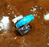 RINGS ZUNI SILVER SLEEPING BEAUTY TURQUOISE INLAY BAND