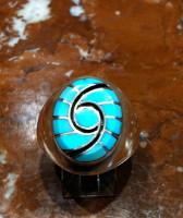 RINGS ZUNI SILVER MULTI-INLAY TURQUOISE HUMMINGBIRD DESIGN Dickie Quandelacy