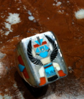 RINGS ZUNI SILVER MULTI-COLOR INLAY THUNDERBIRD TURQUOISE CORAL ONYX MELON SHELL H.M. Coonsis