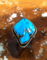 RINGS NAVAJO ZUNI SILVER TURQUOISE LEAF PATTERN DESIGN