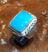 RINGS NAVAJO SILVER TURQUOISE W DENETDALE SOLD