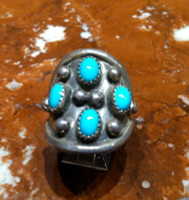 RINGS NAVAJO SILVER TURQUOISE VINTAGE PAWN JL SOLD
