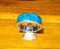 RINGS NAVAJO SILVER TURQUOISE INLAY WIDE BAND